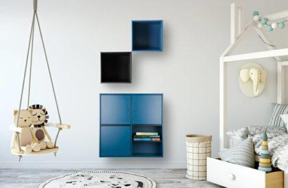Reolsystem i blå og sort