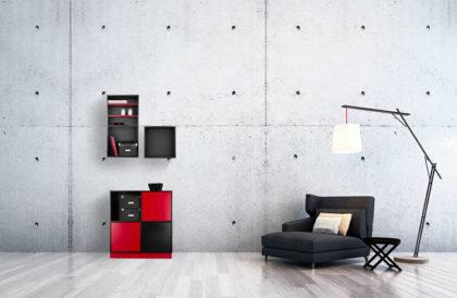Reolsystem i sort og rød